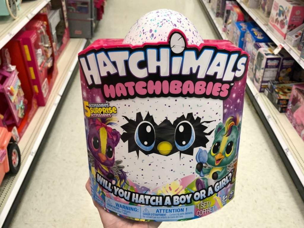 Hatchimals Hatchibabies in package in hand in toy aisle