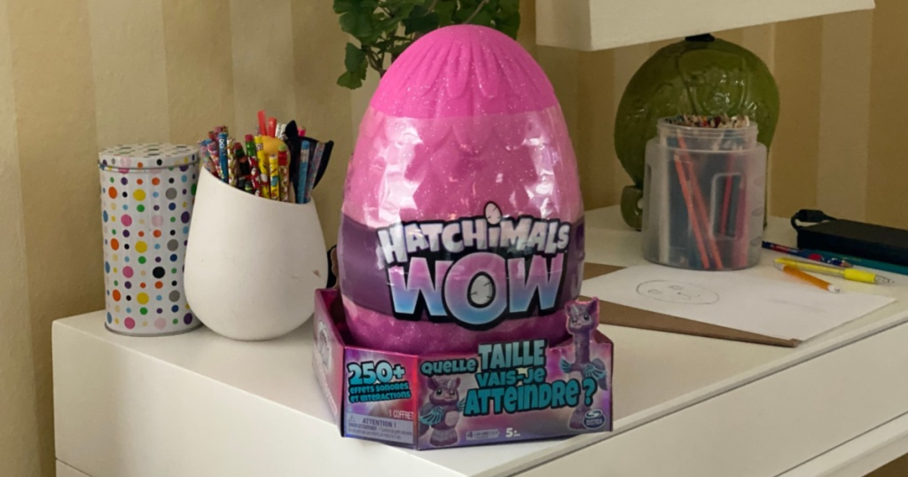 hatchimals wow egg on table