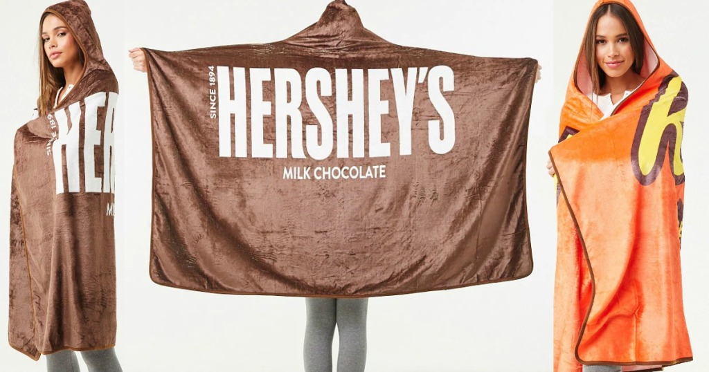 Three angles of a Hershey's themed blanket