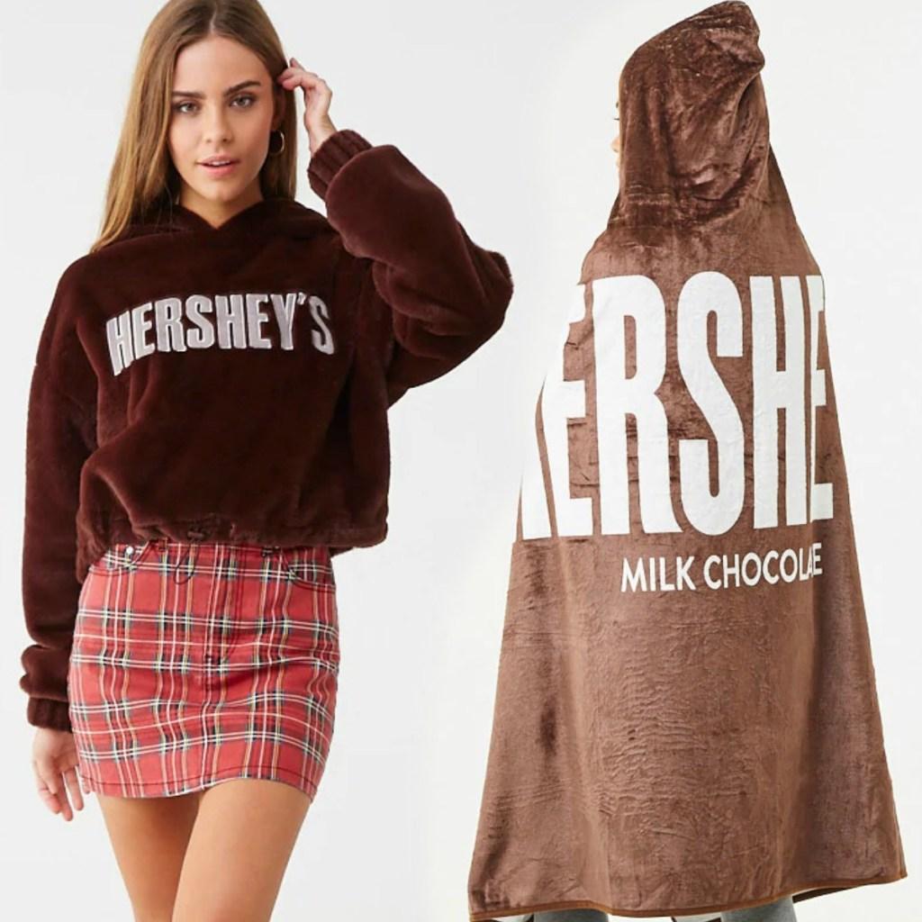 Hershey's Chocolate themed hoodie and wearable blanket