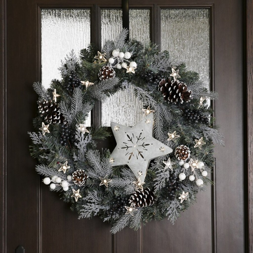 Holiday Living Pre-lit Christmas Wreath w: White Warm LED Lights on door