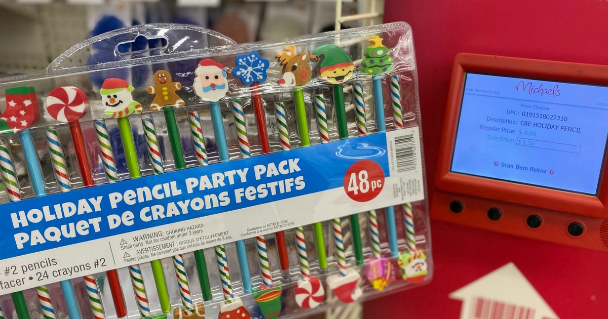 Holiday Pencil Party Pack next to a price check machine