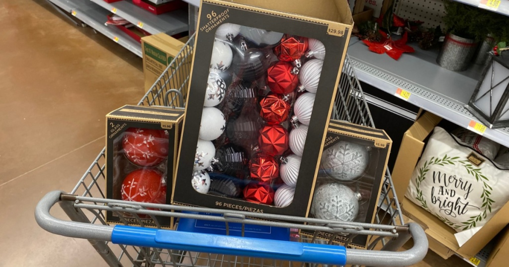 shatterproof ornaments in walmart cart in store