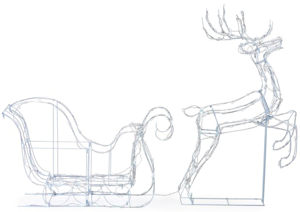 Home Accents Holiday 50-in Christmas Cool White LED Wire Frame Deer and Sleigh