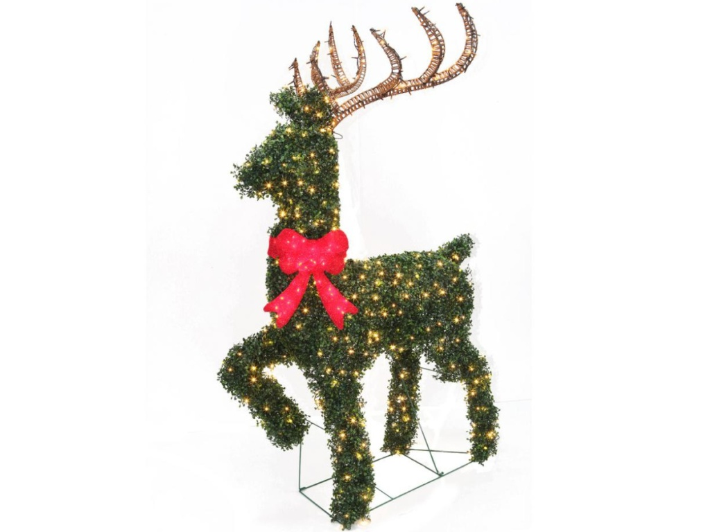 Home Accents Holiday 67-in Topiary Deer Sculpture with Warm White Lights