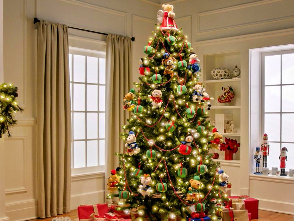 Home Accents Holiday 7.5 ft. Artificial Christmas Tree with Musical Animated Plush and LED Lights