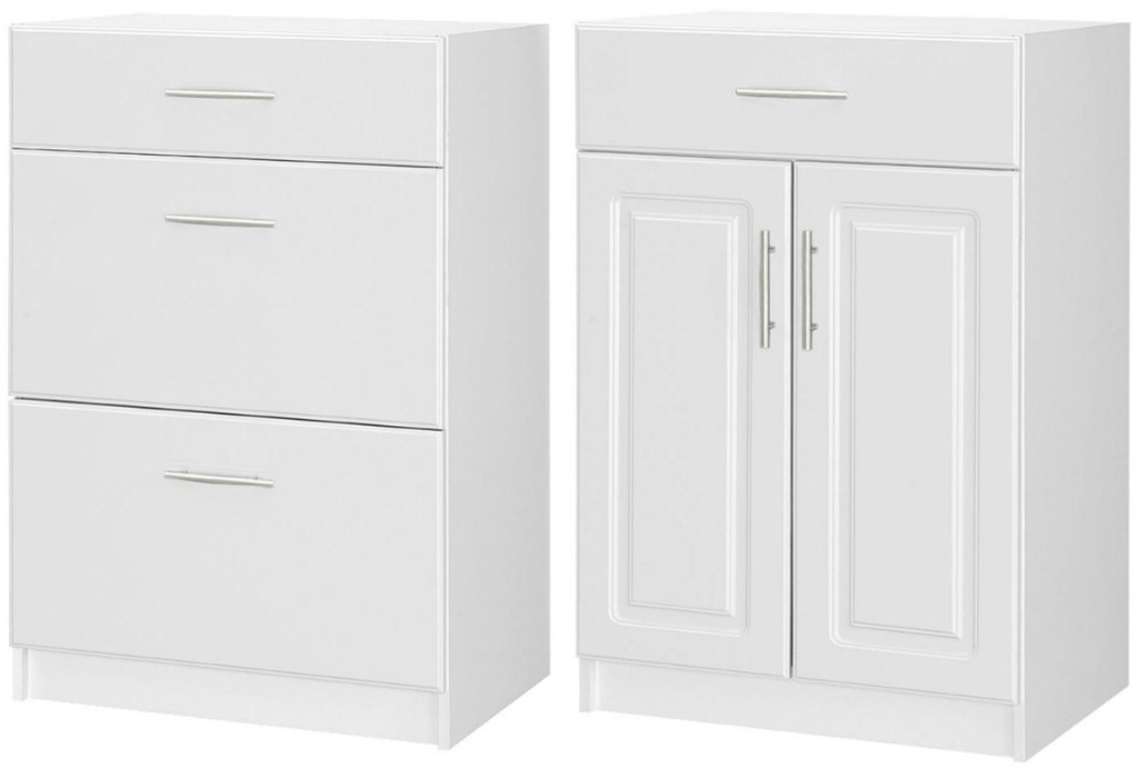 Two white cabinets from Home Depot