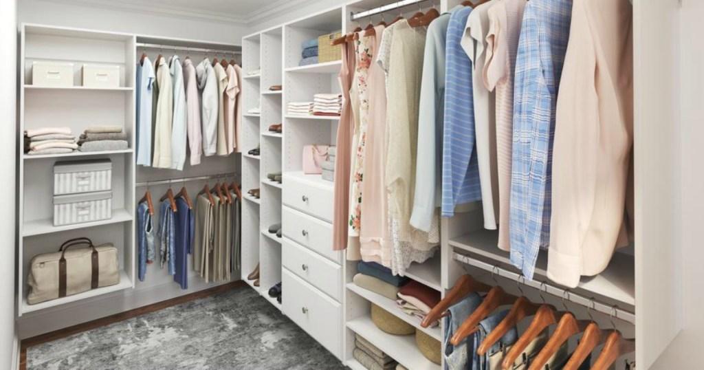 Closet organized with shelves