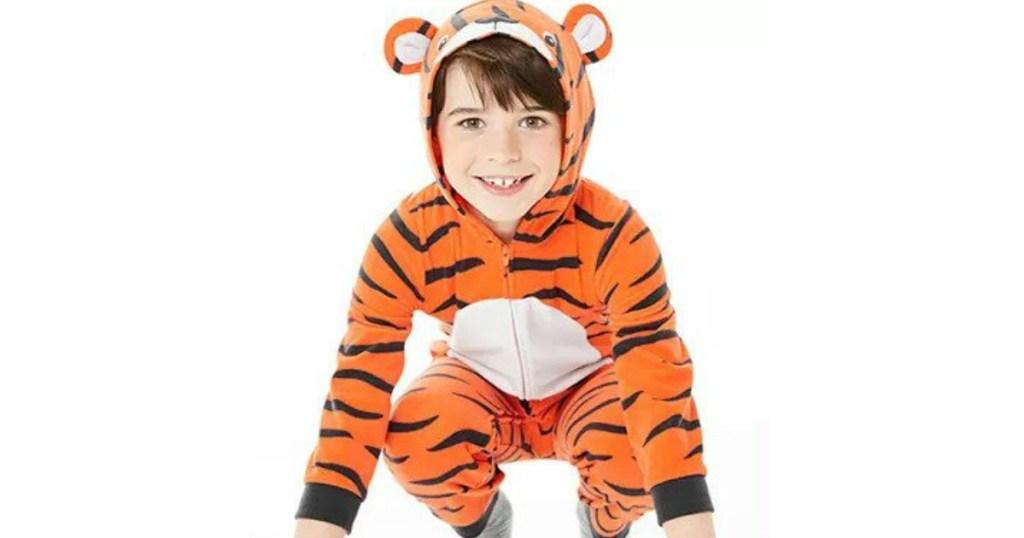 boy wearing Hooded Pajamas