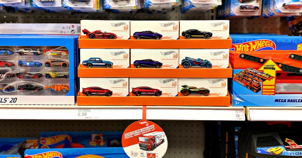 Hot Wheels ID Race Cars on shelf at Target