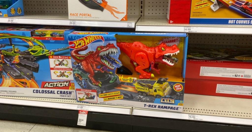 hot wheels t-rex rampage playset on shelf at target