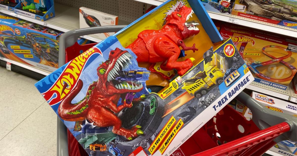 hot wheel t rex rampage playset in cart at target