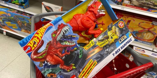 Hot Wheels T-Rex Rampage Playset + Diecast Car 5-Pack Only $26.99 Shipped at Target (Regularly $50)
