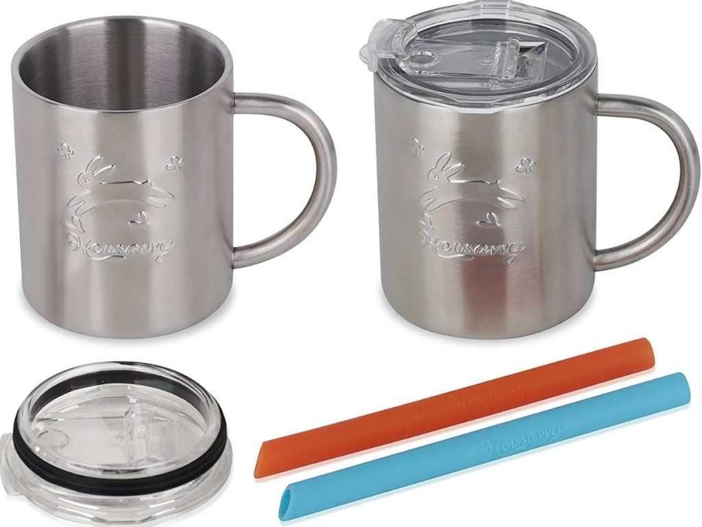 Stainless steel sippy cups with lids and straws