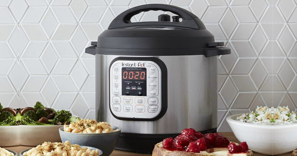 Instant Pot 8 Quart on kitchen counter surrounded by food