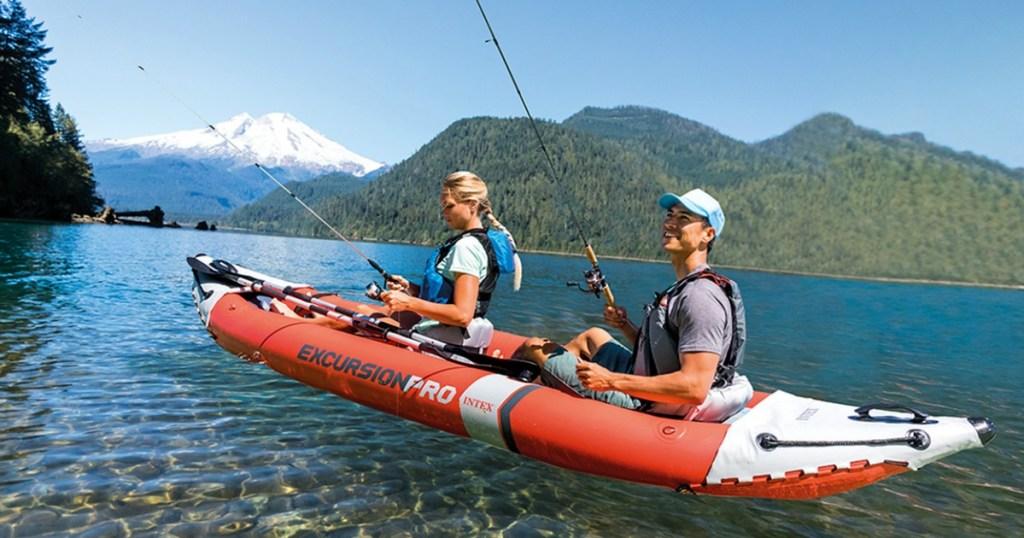 people riding in a Intex Kayak