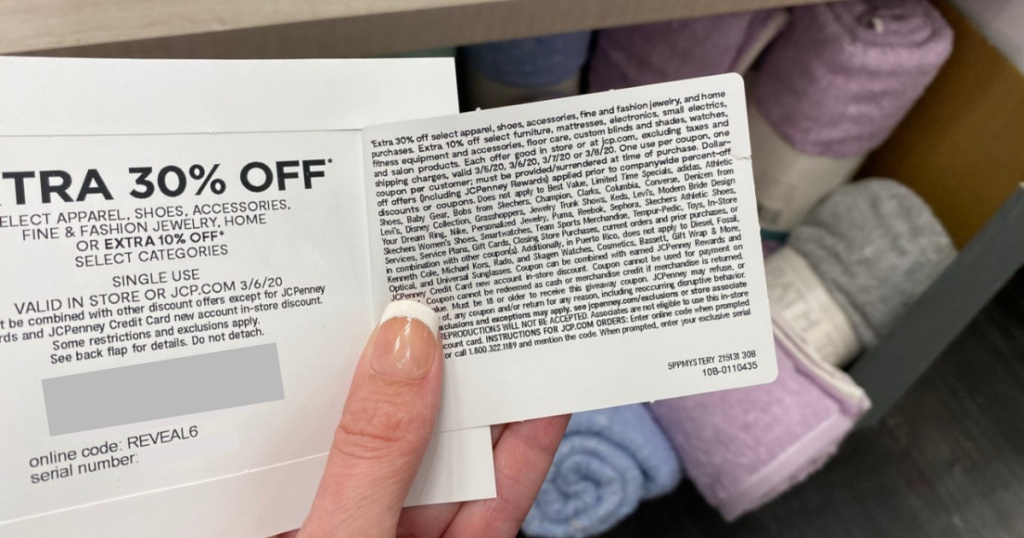 JCPenney Mystery Sale Coupon opened in shoppers hand