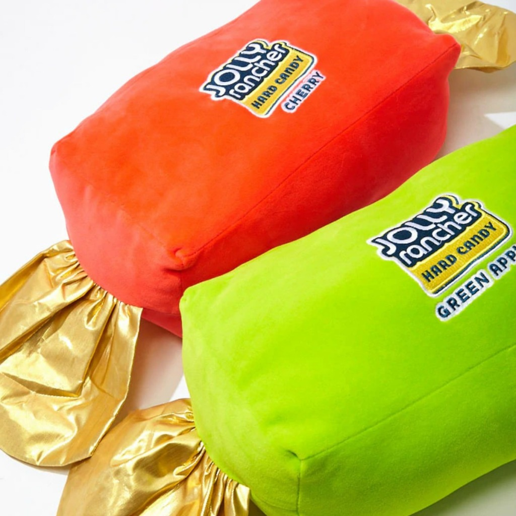Set of two Jolly Rancher pillows in red and green