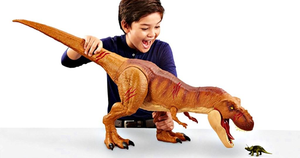 Jurassic World Battle Damage Roarin' Super Colossal Tyrannosaurus Rex Figure