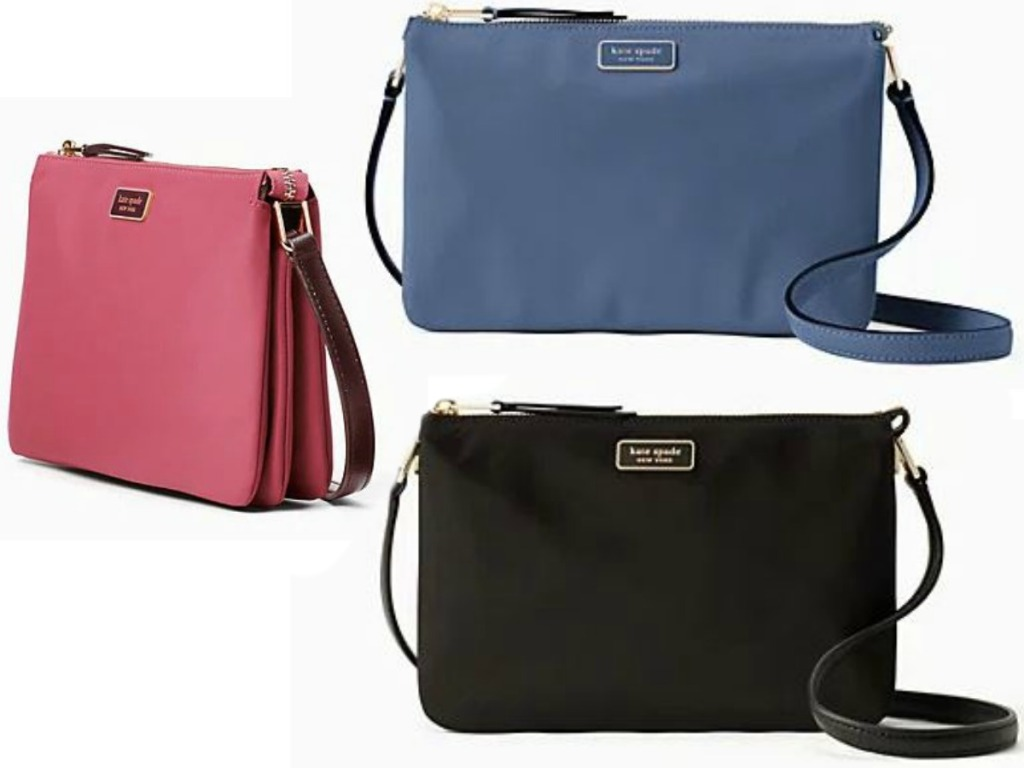 three purses, one pink, one blue, and one black