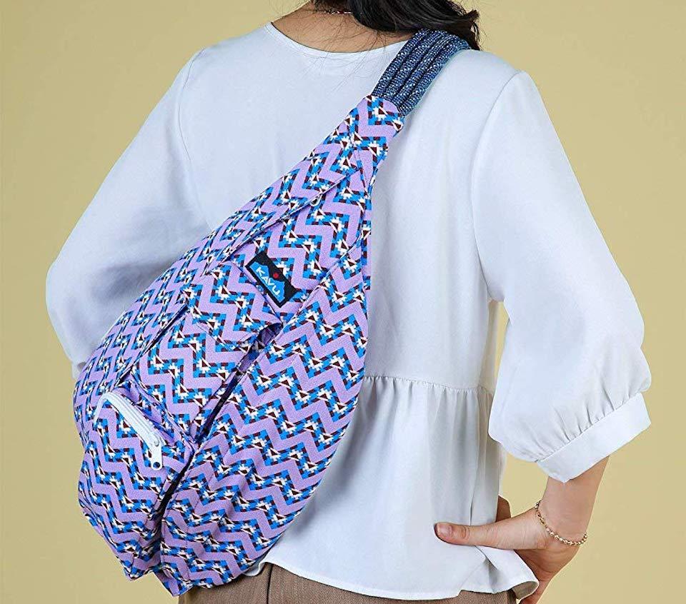 person wearing a Kavu Chevron Bag