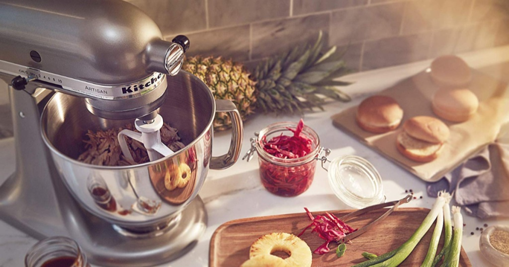 KitchenAid on counter with food on counter