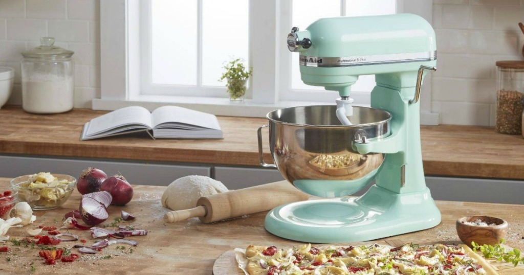 mint green KitchenAid Professional stand mixer surrounded by ingredients