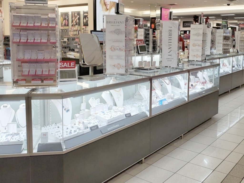 In-store display case of diamond jewelry