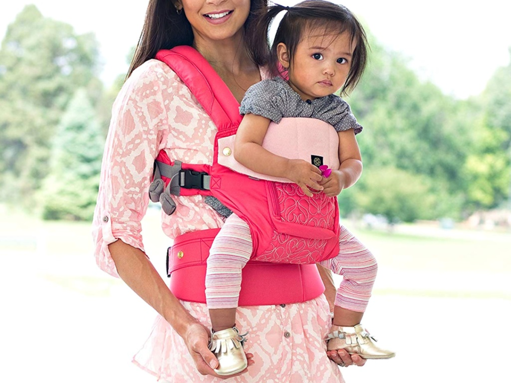 LÍLLÉbaby Complete Embossed Luxe 6-Position 360° Ergonomic Baby Carrier in pink