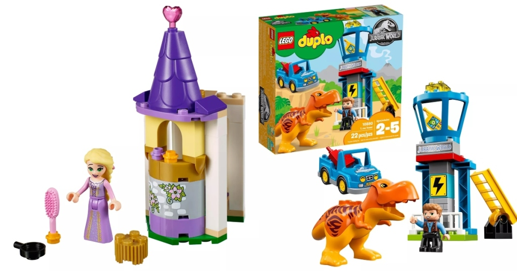 Two LEGO sets. Small Rapunzel set put together on the left, small Duplo Jurrasic set put together on the right.