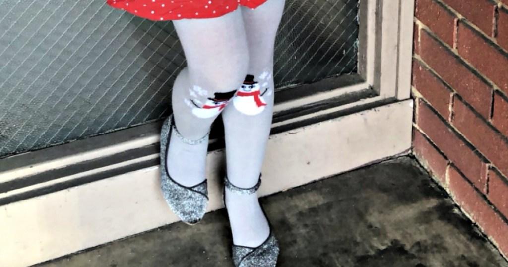 Lily & Dan Girls Snowman Tights at Aldi