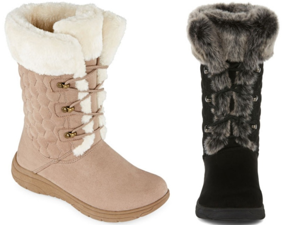 tan and black pair of boots with sherpa inside