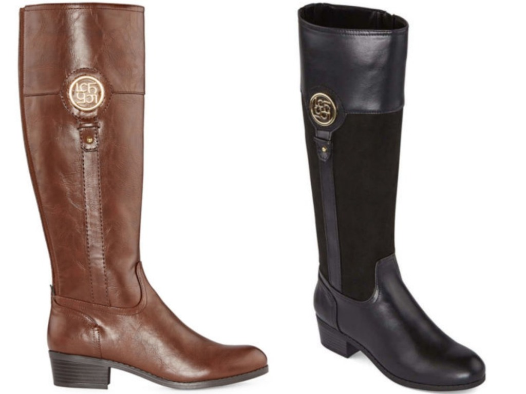 brown and black tall women's boots