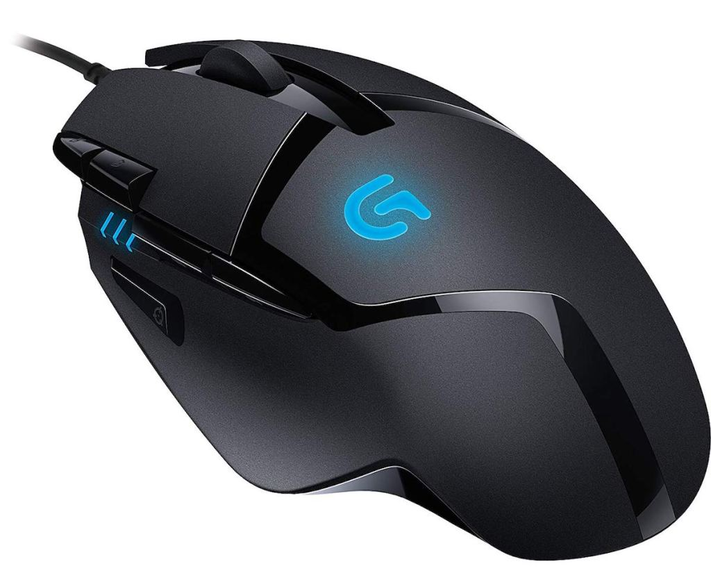 black and glowing blue Logitech G402 Hyperion Fury FPS Gaming Mouse