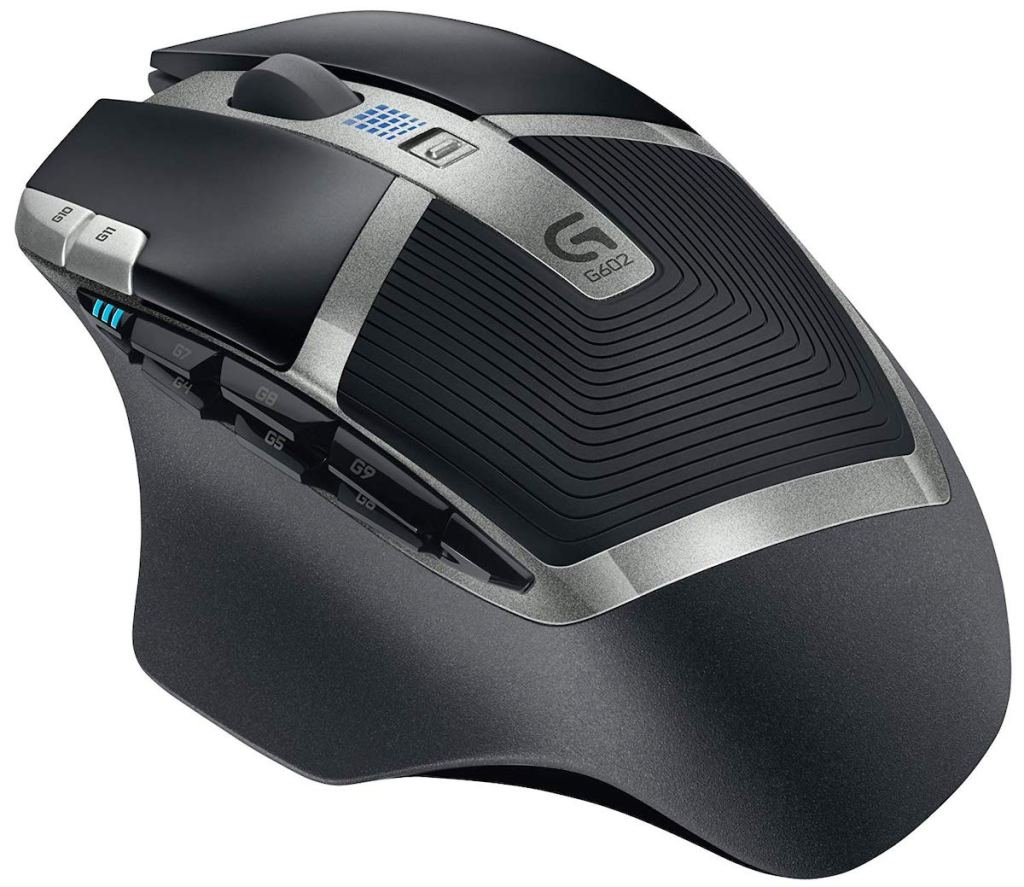 black and silver Logitech G602 Lag-Free Wireless Gaming Mouse on white background