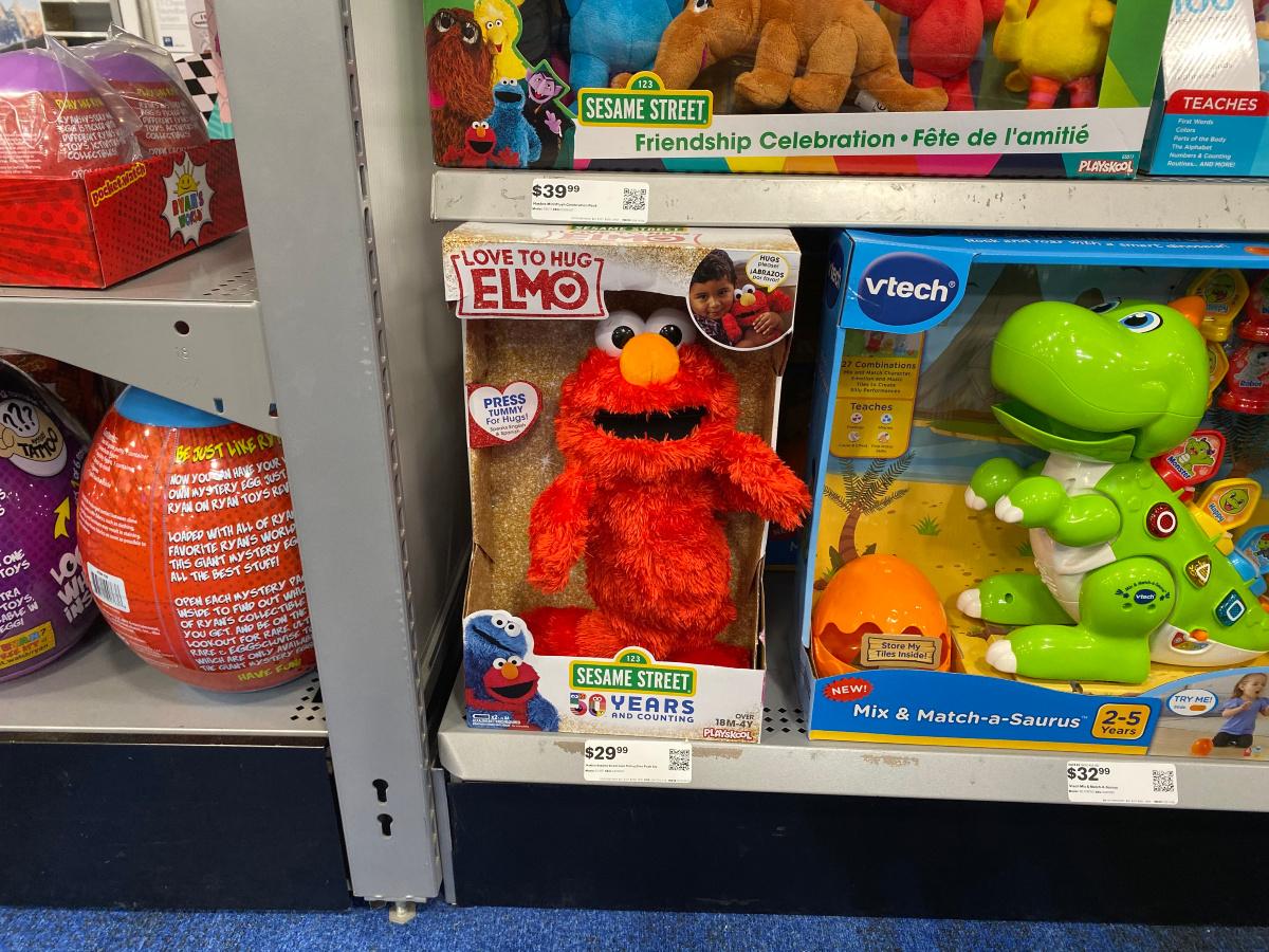 love to hug elmo on store shelf