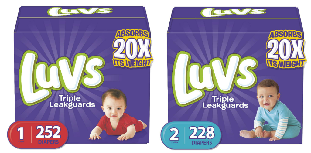 two boxes of Luvs diapers