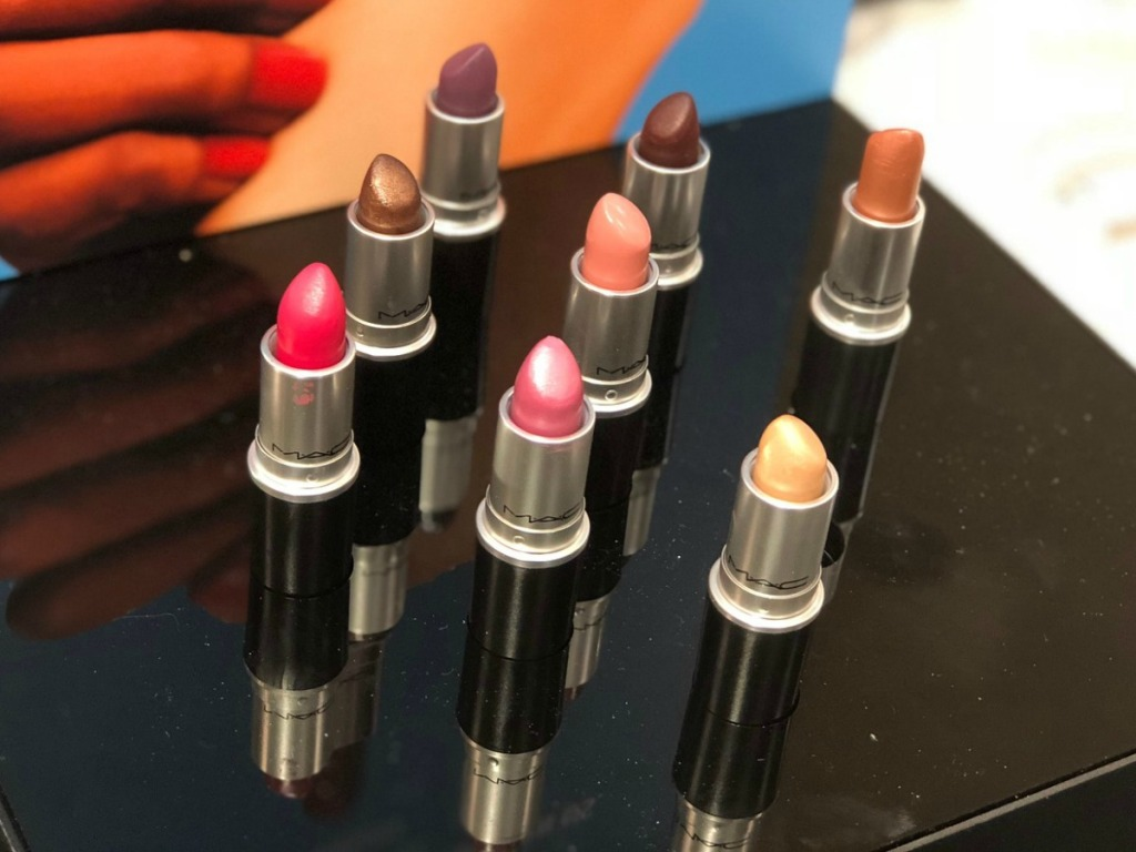 display of MAC cosmetics lip sticks in a variety of colors