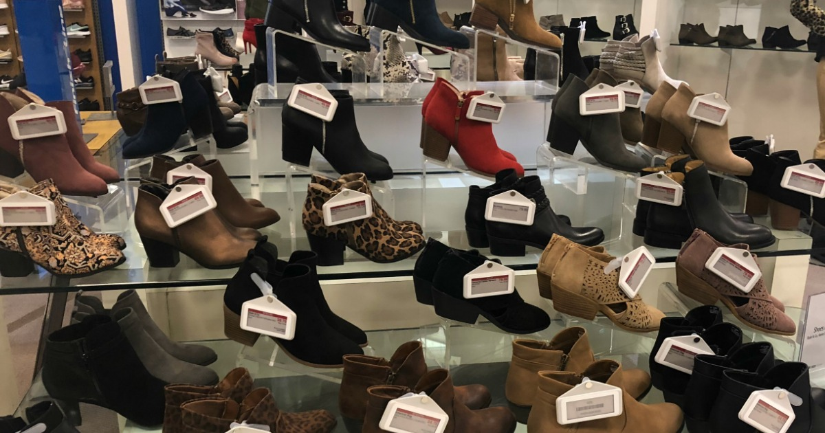 display of boots at Macy's