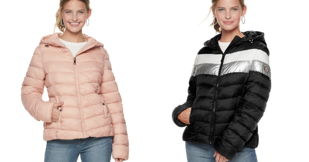 Madden NYC Packable Jacket in Pink or Black stripe