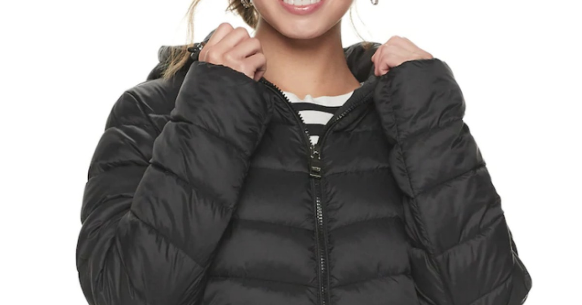 Girl wearing Madden NYC Packable Jacket