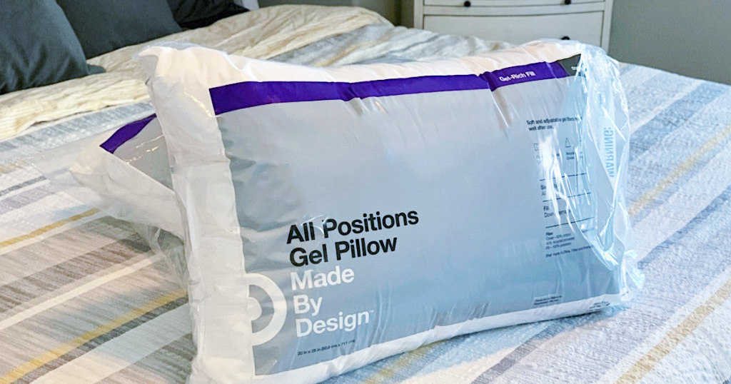 Made By Design Microgel Pillow sitting on bed
