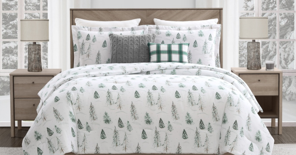 bed with Mainstays Pinetree comforter set