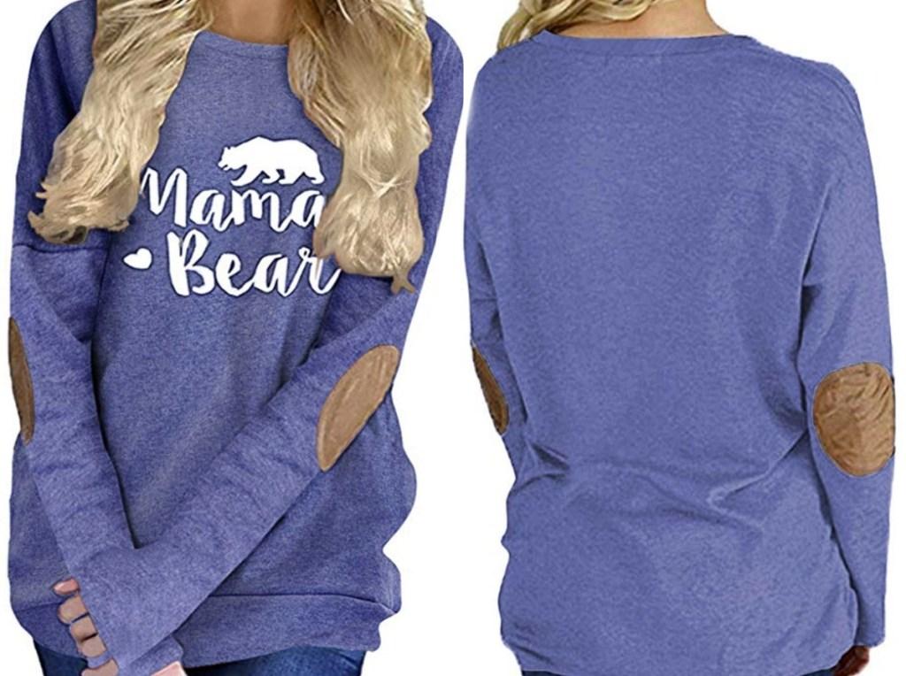 Mama Bear printed long sleeve shirt - front and back view