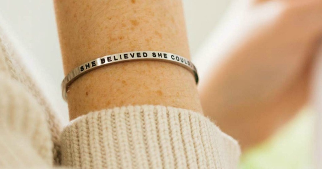 woman wearing a Mantra Bracelet