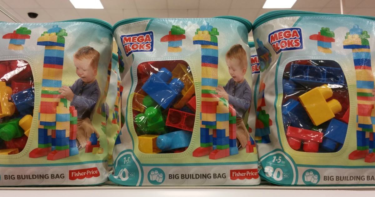 three Mega Bloks Big Building Bag on shelf