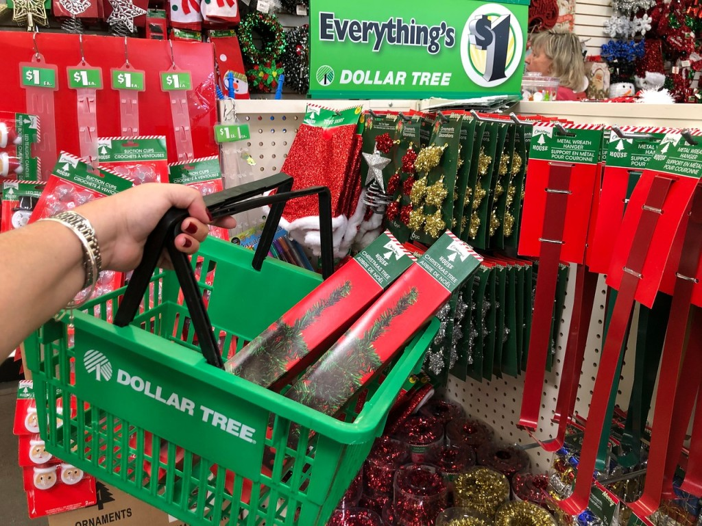 Mini Christmas Trees in Dollar Tree basket