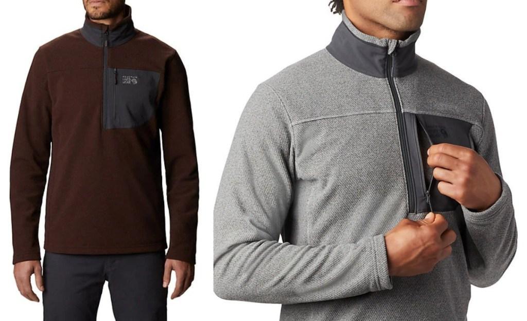 Mountain Hardwear Men's Versant 1_2 Zip Jacket in maroon and black and grey