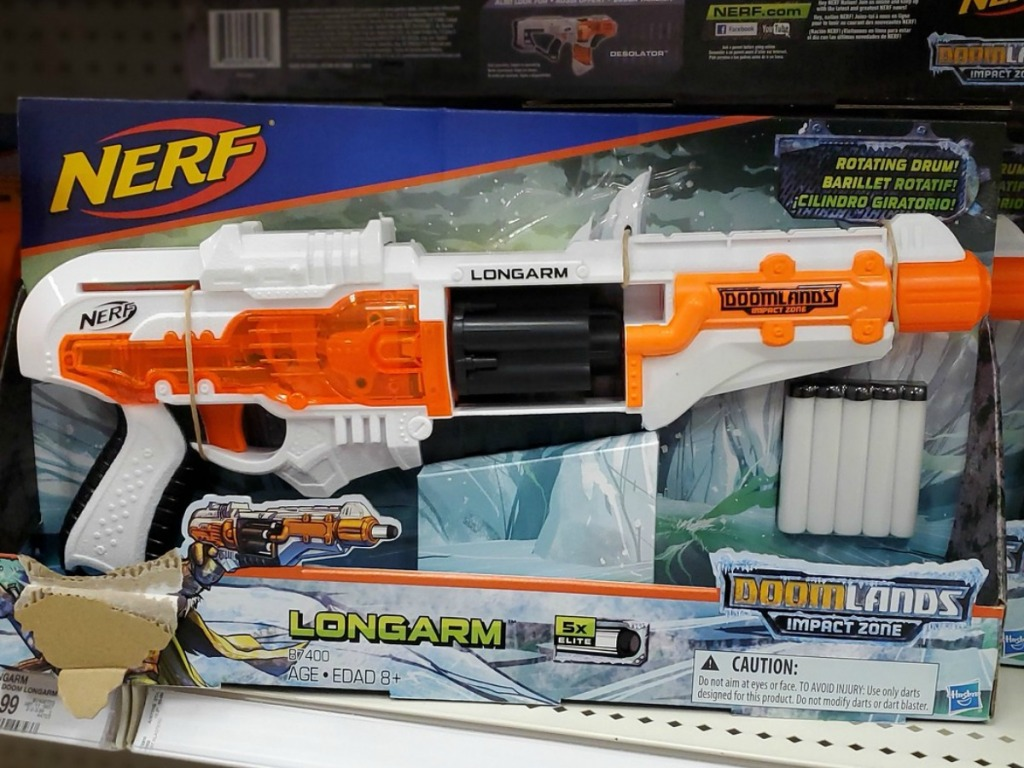 Orange and white NERF gun in package on display in Target