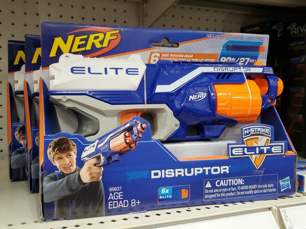 Blue and white NERF toy in package on display